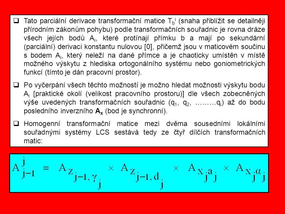 Tato parciální derivace transformační matice Tbi (snaha přiblížit se detailněji přírodním zákonům pohybu) podle transformačních souřadnic je rovna dráze všech jejích bodů Ai, které protínají přímku b a mají po sekundární (parciální) derivaci konstantu nulovou [0], přičemž jsou v maticovém součinu s bodem Ai, který neleží na dané přímce a je chaoticky umístěn v místě možného výskytu z hlediska ortogonálního systému nebo goniometrických funkcí (tímto je dán pracovní prostor).